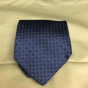 Salvatore Ferragamo Silk Woven Blue Signature Tie
